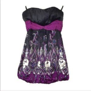 Bebe | S | Black Purple SILK Floral Strapless Top